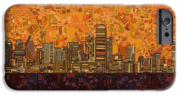 Recently Sold -  - Mosaic iPhone Cases - Dallas Skyline Abstract iPhone Case by MB Art factory