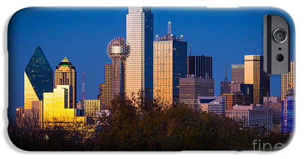 Glass Reflecting iPhone Cases - Dallas Skyline iPhone Case by Inge Johnsson