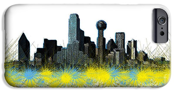 Buildings Mixed Media iPhone Cases - Dallas Skyline iPhone Case by Mim White