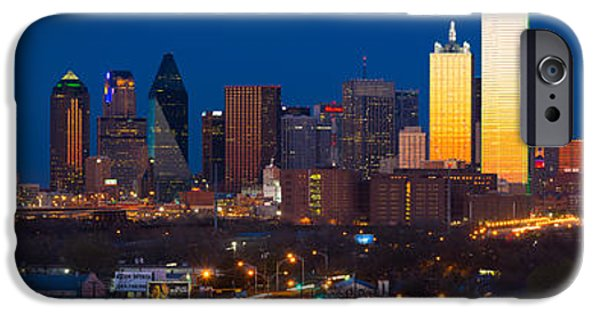 Glass Reflecting iPhone Cases - Dallas Skyline Panorama iPhone Case by Inge Johnsson
