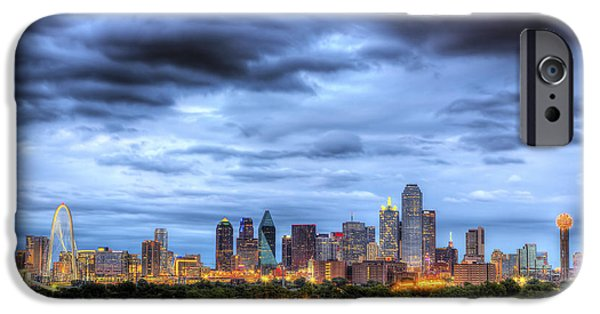 Cowboy iPhone Cases - Dallas Skyline iPhone Case by Shawn Everhart
