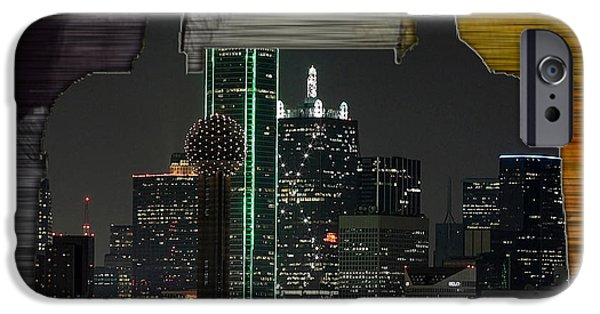 Dallas iPhone Cases - Dallas Texas Skyline in a Purse iPhone Case by Marvin Blaine