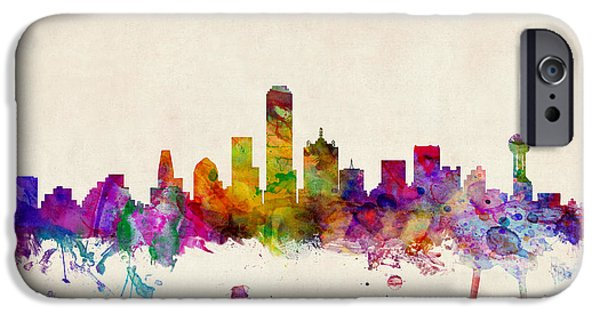 State iPhone Cases - Dallas Texas Skyline iPhone Case by Michael Tompsett