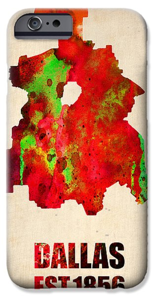 Dallas iPhone Cases - Dallas Watercolor Map iPhone Case by Naxart Studio