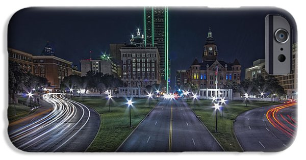 Red School House iPhone Cases - Dallas West End At Night iPhone Case by Jonathan Davison