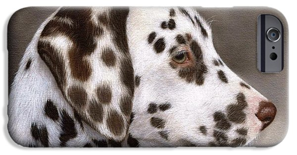 Cute Puppy iPhone Cases - Dalmatian Puppy Painting iPhone Case by Rachel Stribbling