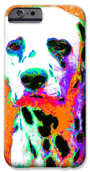 House Pet Digital Art iPhone Cases - Dalmation Dog 20130125v2 iPhone Case by Wingsdomain Art and Photography