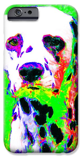 Puppy Digital Art iPhone Cases - Dalmation Dog 20130125v3 iPhone Case by Wingsdomain Art and Photography