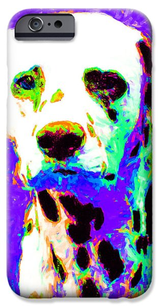 Puppy Digital Art iPhone Cases - Dalmation Dog 20130125v4 iPhone Case by Wingsdomain Art and Photography