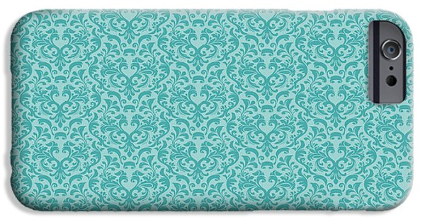 Blue Drawings iPhone Cases - Damask Coral and Shells iPhone Case by Kimberly McSparran