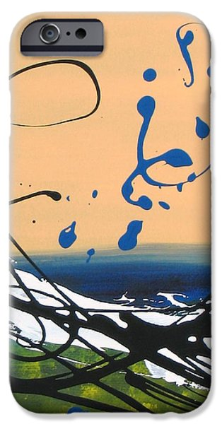 Berry iPhone Cases - Dancing Berries - Blue iPhone Case by Louise Adams
