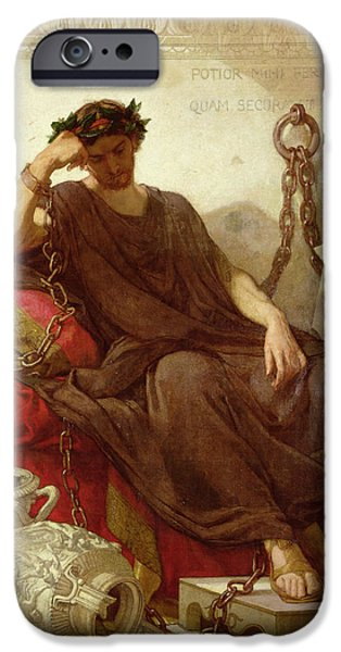 Wreath Paintings iPhone Cases - Damocles iPhone Case by Thomas Couture