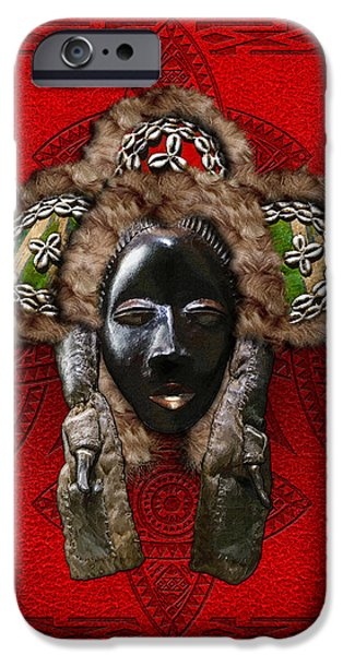 Dan Dean-Gle Mask of the Ivory Coast and Liberia on Red Leather iPhone Case by Serge Averbukh