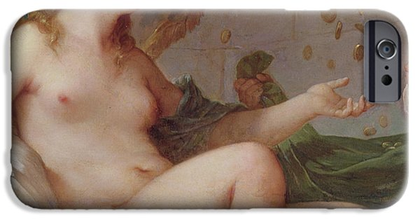 Erotica Paintings iPhone Cases - Danae Receiving the Shower of Gold iPhone Case by Charles Joseph Natoire