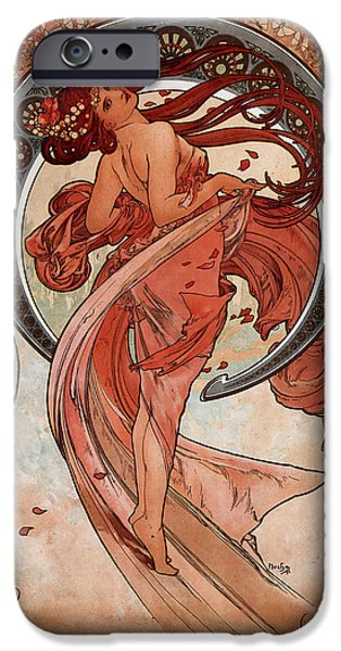 Woman In A Dress iPhone Cases - Dance iPhone Case by Alphonse Maria Mucha