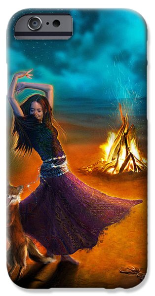 Gypsy Digital iPhone Cases - Dance Dervish Fox iPhone Case by Aimee Stewart