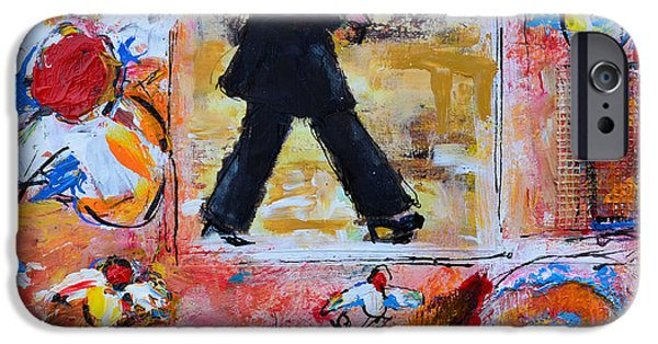 Rainy Day Mixed Media iPhone Cases - Dance in the rain under a red umbrella iPhone Case by Patricia Awapara