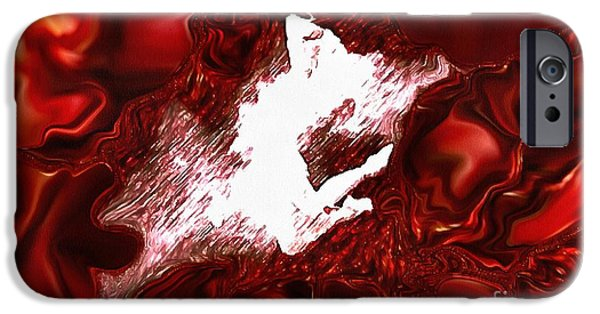Catherine White Digital Art iPhone Cases - Dance In Velvetty Red iPhone Case by Catherine Lott