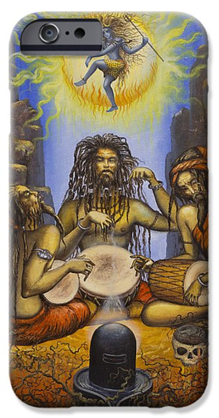 Parvati Paintings iPhone Cases - Dance of Shiva iPhone Case by Vrindavan Das