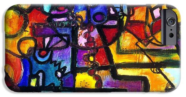 Diagram Paintings iPhone Cases - Dance of the Gauge Bosons in Vacuum iPhone Case by Regina Valluzzi