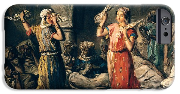 Harem Photographs iPhone Cases - Dance Of The Handkerchiefs, 1849 Oil On Panel iPhone Case by Theodore Chasseriau