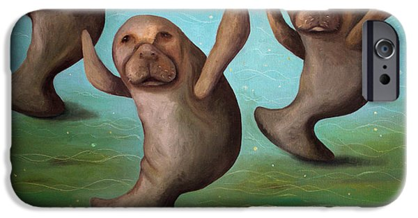Manatee iPhone Cases - Dance Of The Manatees edit 2 iPhone Case by Leah Saulnier The Painting Maniac
