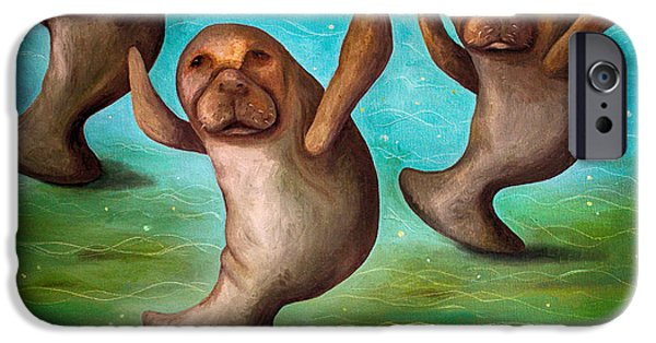 Manatee iPhone Cases - Dance Of The Manatees edit 3 iPhone Case by Leah Saulnier The Painting Maniac