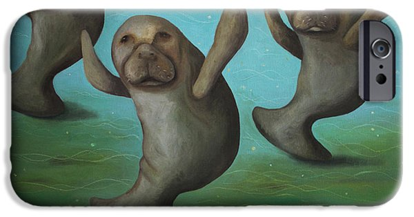 Manatee iPhone Cases - Dance Of The Manatees iPhone Case by Leah Saulnier The Painting Maniac