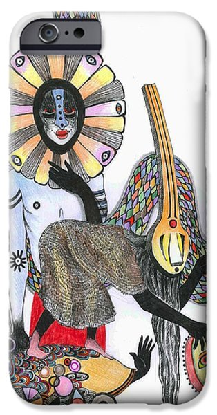 Psychedelic Photographs iPhone Cases - Dance Of The Masks, 2012 Pen, Ink And Colour Pencils On Paper iPhone Case by Zanara/ Sabina Nedelcheva-Williams