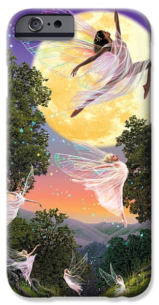 Fairies iPhone Cases - Dance of the Moon Fairy iPhone Case by Garry Walton