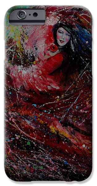 Ballerina Artwork iPhone Cases - Dance with colors iPhone Case by Isabel Salvador