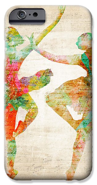 Melody Digital Art iPhone Cases - Dance With Me iPhone Case by Nikki Marie Smith