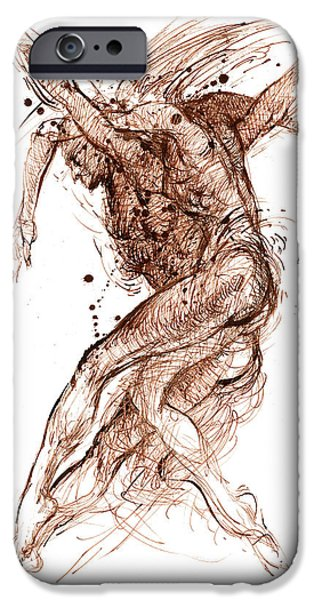 Sepia Ink Drawings iPhone Cases - Dance iPhone Case by Youri Ivanov