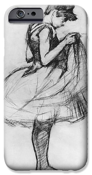 Ballet Drawings iPhone Cases - Dancer Adjusting her Costume and Hitching up Her Skirt iPhone Case by Henri de Toulouse-Lautrec