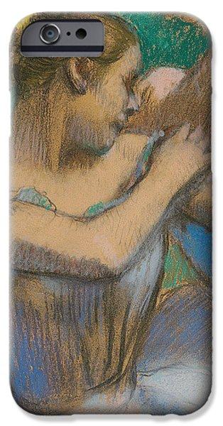 Dancer adjusting her shoulder iPhone Case by Edgar Degas