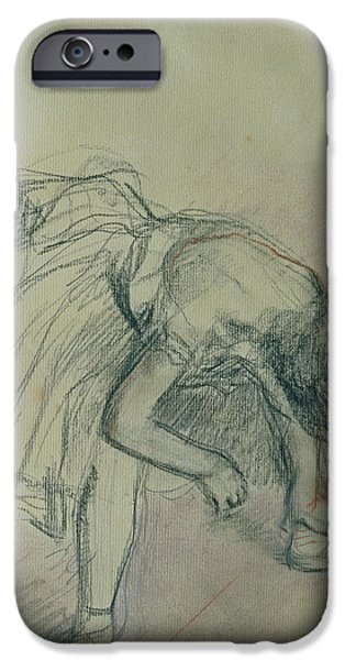 Ballet Drawings iPhone Cases - Dancer Fixing her Slipper iPhone Case by Edgar Degas