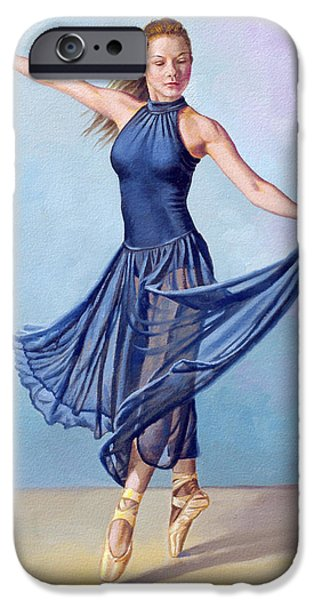 Figures iPhone Cases - Dancer in Dark Blue iPhone Case by Paul Krapf