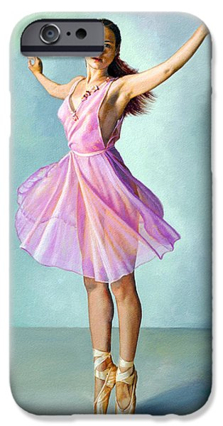 Figures Paintings iPhone Cases - Dancer in Pink iPhone Case by Paul Krapf