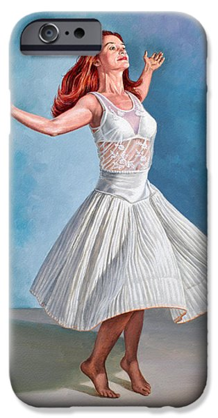 Figures iPhone Cases - Dancer in White iPhone Case by Paul Krapf