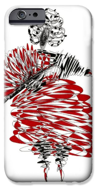 Abstractions Drawings iPhone Cases - Dancer iPhone Case by Justyna JBJart
