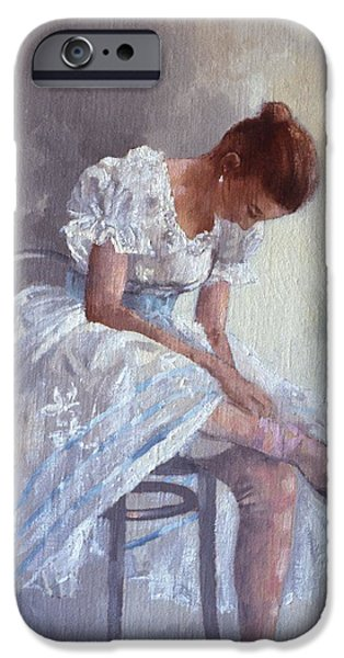 Ballet Dancers iPhone Cases - Dancer Oil On Canvas iPhone Case by Peter Miller