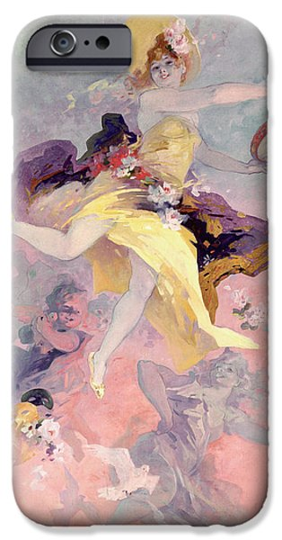 Dove iPhone Cases - Dancer with a Basque Tambourine iPhone Case by Jules Cheret