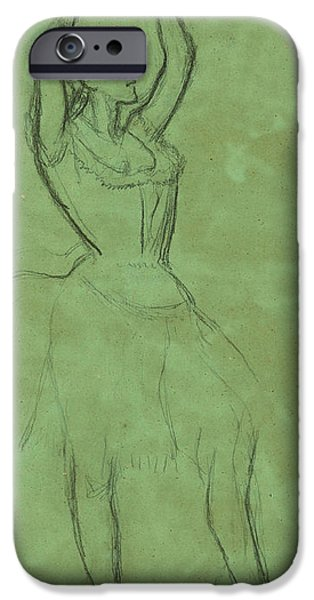 Ballet Drawings iPhone Cases - Dancer with Raised Arms iPhone Case by Edgar Degas
