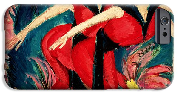 Abstract Expressionist iPhone Cases - Dancers in Red iPhone Case by Ernst Ludwig Kirchner