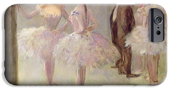 Ballet Dancers Paintings iPhone Cases - Dancers in the Wings at the Opera iPhone Case by Jean Louis Forain
