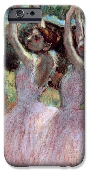 Pastel Paintings iPhone Cases - Dancers in violet dresses iPhone Case by Edgar Degas