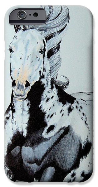 Drawing Of A Horse iPhone Cases - Dances with Wind iPhone Case by Cheryl Poland