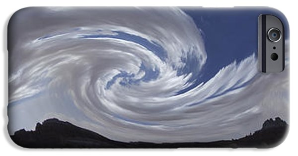 Mountain Digital Art iPhone Cases - Dancing Clouds 3 Panoramic iPhone Case by Mike McGlothlen