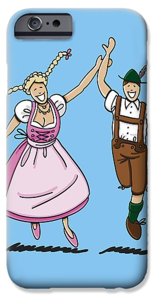 Bayern iPhone Cases - Dancing Couple With Dirndl And Lederhosen iPhone Case by Frank Ramspott