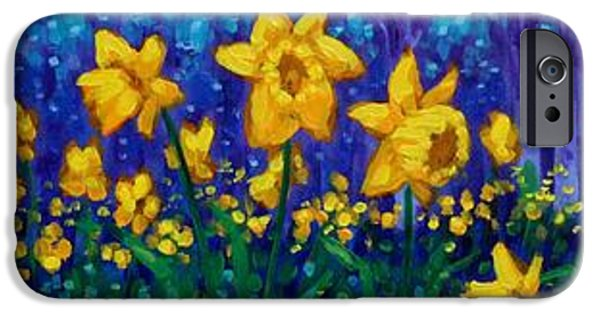 Varnish iPhone Cases - Dancing Daffodils  iPhone Case by John  Nolan